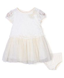 Nannette Pretty Lace Dress With Bloomer - Cream