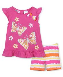 Young Hearts Butterfly Print T-Shirt & Shorts Set - Pink & Yellow