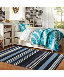 Little Looms Hues Of Blue Rug - Blues Grey & White