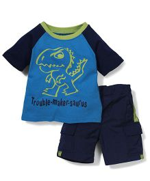 Boyz Wear Trouble Maker Print T-Shirt & Shorts Set - Blue