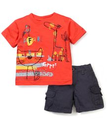 Boyz Wear Animal Print T-Shirt & Shorts Set - Orange & Black