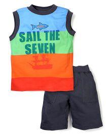 Nannette Sail The Seven Print T-Shirt & Half Pant - Multicolor