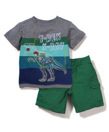 Nannette Dinosaur Print T-Shirt & Shorts - Green & Grey
