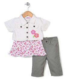 Young Hearts Flower Print Top & Jacket With Pants - White & Grey