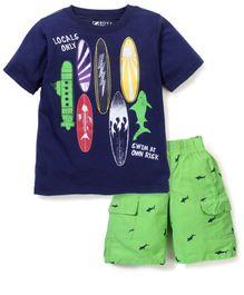 Boyz Wear Fish Print Half Pant & T-Shirt Set - Blue & Lime Green