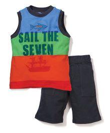 Boyz Wear Sail The Seven Print T-Shirt & Half Pant Set - Multicolor