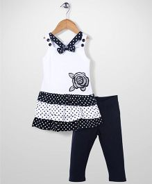 Young Hearts Flower Print Top & Leggings Set - White & Black