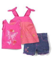 Nannette Butterfly Print Top & Shorts Set - Pink & Blue