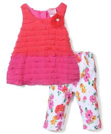 Nannette Girls Floral Print Legging & Top Set - Pink & White