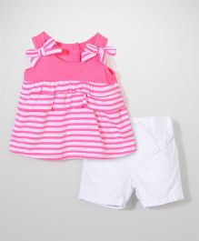 Nannette Stripe Top & Shorts Top & Shorts Set - Pink & White