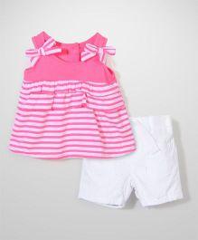 Nannette Stripe Top & Shorts Top & Shorts Set - Pink & White