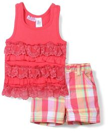 Young Hearts Sleeveless Top & Shorts Set - Pink