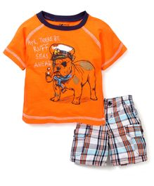 Nannette Dog Print T-Shirt & Half Pant Set - Orange & Multicolour