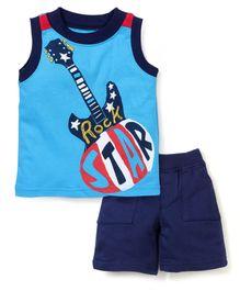 Boyz Wear by Nannette Guitar Print T-Shirt & Shorts - Blue