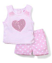 Nannette Love Print Top & Shorts Set - White & Pink