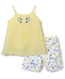 Nannette Floral Print Top & Shorts Set - Yellow & White