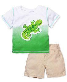Boyz Wear Lizard Print T-Shirt & Pant Set - White Green & Beige