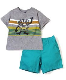 Boyz Wear Trouble Print T-Shirt & Pant Set - Grey & Green