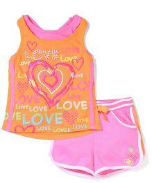 Young Hearts Love Print Tank Top & Shorts - Orange & Pink