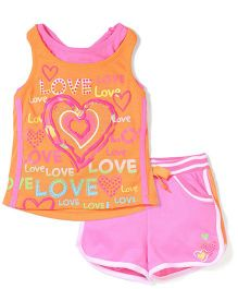 Young Hearts Love Print Tank Top & Shorts - Orange & Pink