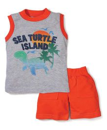 Boyz Wear By Nannette Turtle Print T-Shirt & Pant - Grey & Orange