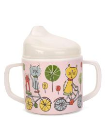 Sugar Booger Cat Print Sippy Cup - Pink & White