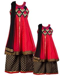 Twisha Mother-Daughter Collection Embroidered Yoke With Kurta And Palazzo - Red & Black
