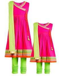 Twisha Mother-Daughter Collection Angrakha Style Knit Kurta With Legging & Dupatta - Hot Pink