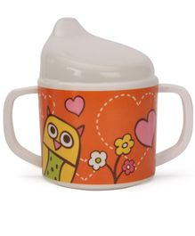 Sugar Booger Owl Print Sippy Cup - Pink & Orange