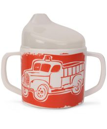 Sugar Booger Fire Truck Print Sippy Cup - White & Red
