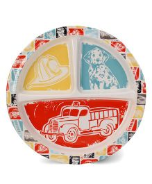 Sugar Booger Divided Suction Plate Fire Truck Print  - Muticolour