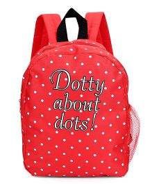 Fox Baby School Bag Dotted Print Red - 11 Inches