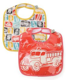 Sugar Booger Firetruck Print 2 Piece Baby Bib  - Orange & Yellow