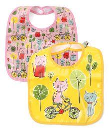 Sugar Booger Kitty Print 2 Piece Baby Bib  - Pink & Yellow