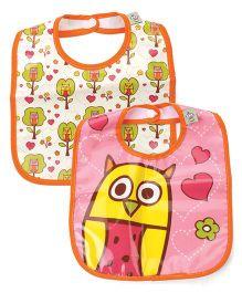 Sugar Booger Owl Print 2 Piece Baby Bib  - Orange & Pink