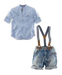 Dells World Stylish Folded Sleeves Shirt Shorts & Suspenders Set - Blue