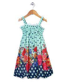 Wenchoice Flower & Dot Print Dress - Blue & Green