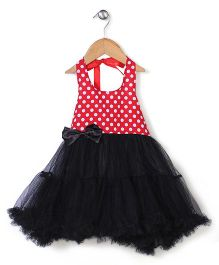 Wenchoice Polka Dot Party Wear Dress - Red & Black