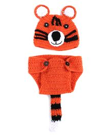 The Original Knit Tiger Crochet Photo Prop With Tail - Orange