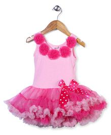 Wenchoice Party Wear Dress With Flower Applique - Pink