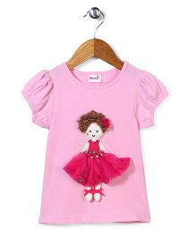 Wenchoice Top With Girl Applique - Pink
