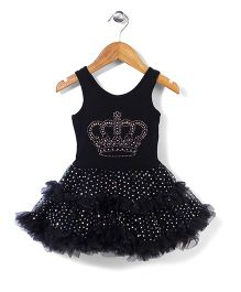 Wenchoice Diamond Studded Crown Dress - Black