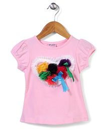 Wenchoice Top With Flower Applique - Baby Pink