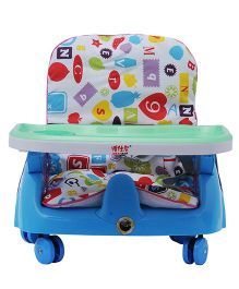 Happykids Adjustable Booster Seat With Wheels - Blue
