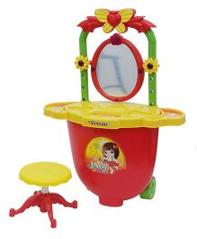Happykids Dresser with Lights Music and Stool - Red And Yellow