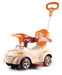 Happy Kids Swing Car With Push Bar Lights And Music - Brown