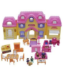 Happy Kids Villa Set with Lights and Music - Pink And Yellow