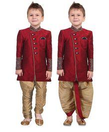 Ethniks Neu Ron Full Sleeves Kurta And Dhoti With Jodhpuri Breeches - Maroon And Beige