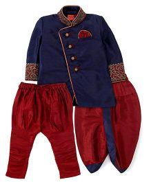 Ethniks Neu Ron Full Sleeves Kurta And Dhoti With Jodhpuri Breeches - Maroon And Navy Blue