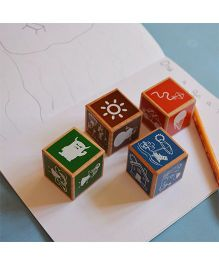 Shumee Wooden Tell Me A Story Cubes - Multicolour